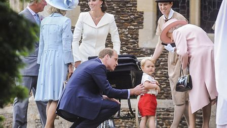 The christening of Princess Charlotte at Sandringham Church, featured in Long To Reign Over Us. Pict