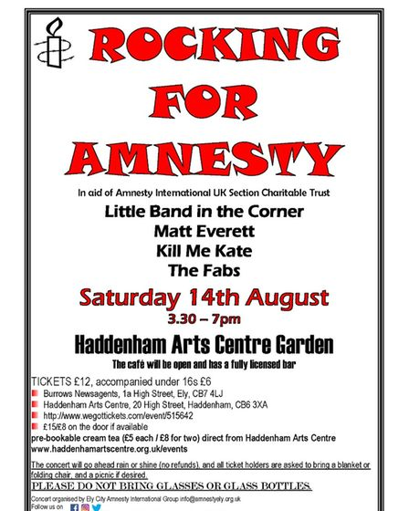 'Rocking for Amnesty' will be held in the gardens of Haddenham Arts Centre on Saturday August 14.