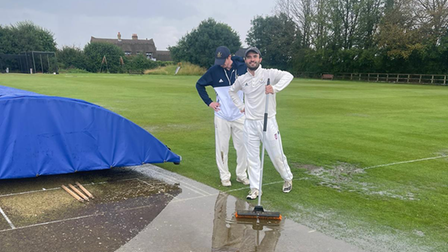 Jack Stevens and Sam Gravatt of Aythorpe Roding Cricket Club after their game with Springfield was abandoned