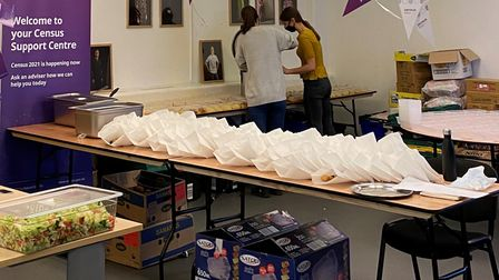Getting food supplies ready at BethnalGreen's Hooyo East community kitchen