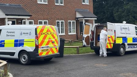 Forensic services on scene in Lake Close, Shipdham, after the body of Malgorzata Lechanska was discovered on Sunday.