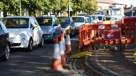 Traffic at a standstill in Attleborough due to roadworks in Surrogate Street, Church Street, and Sta