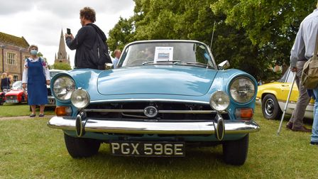 Visitors viewed 70 classic cars on Palace Green outside Ely Cathedral during the Cambridge and District Classic Car Show.