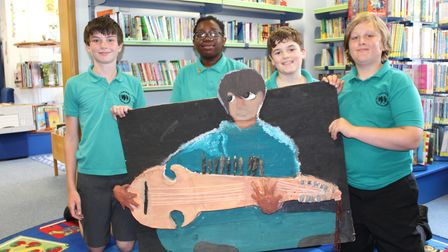 Year 6 students at Dunmow St Mary's Primary School, Great Dunmow, Essex with their artwork