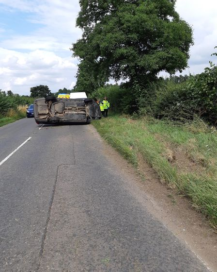 Rolled Passat at Stetchworth after van driver who caused crashflees the scene