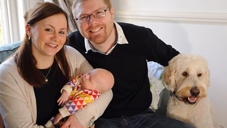 Bryony and Ben Seabrook, with their son nine-week-old Jenson, and their dog Barney. Bryony works at