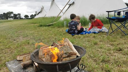 Our three boys enjoying their camping experience at Algy's Farm Campsite