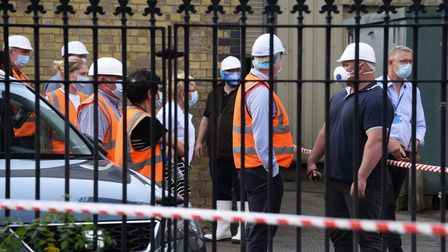 Banham Poultry staff outside the factory in Attleborough after a chemical incident. Picture: DENISE