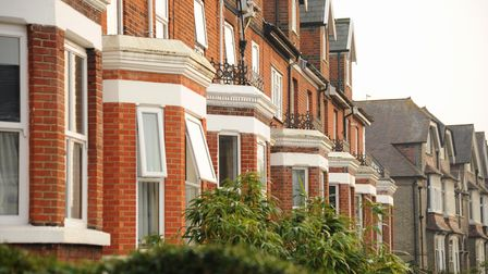 Terrace houses with brick built bay windows in the Golden Triangle area of Norwich