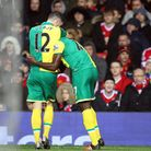 Alexander Tettey of Norwich celebrates scoring his side's 2nd goal during the Barclays Premier Leagu