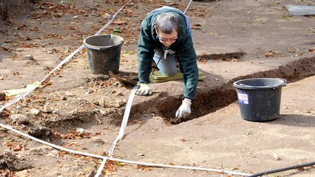 Volunteers work on a dig at the Colchester Archaeological Trust headquarters