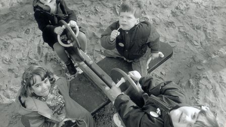 Kids on See saw at new Wensum Park safe playground Norwich pic taken 20th January 1990 c11949