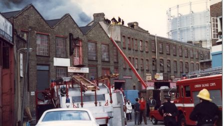 Warehouse blaze 4 decades agothat threatened to spread to Bethnal Green gasworks