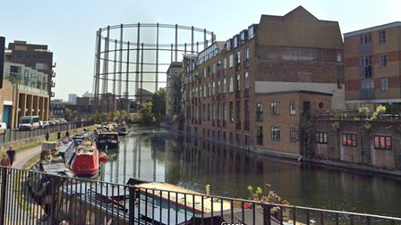 Peaceful Regent's Canal today... old warehouse and former gasworks now redeveloped