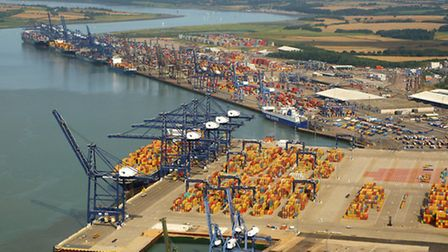 GDP revised down. Containers stored at a UK Port. Picture Mike Page.