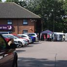 The Covid testing station at the Premier Inn on Yarmouth Road, Lowestoft, after an outbreak followin