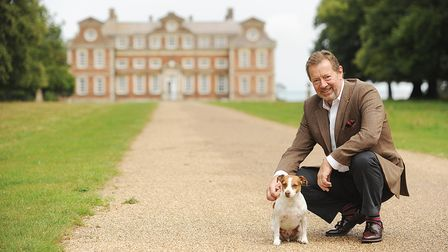Lord Charles Townshend, 8th Marquess Townshend,with his dog Bob at Raynham Hall
