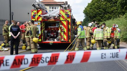 Police and fire crews at Banham Poultry in Attleborough for a chemical incident. Picture: DENISE BRA