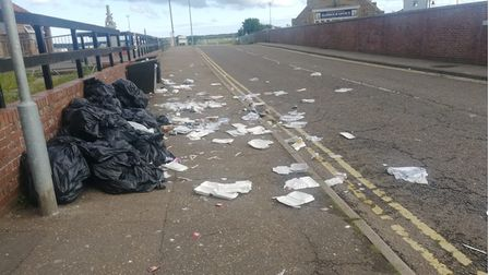 The bin bags on Beach Road which have been ripped open by sea gulls.