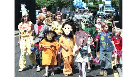 Costumes at Saxmundham Carnival in August 1995