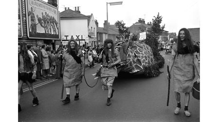 The Brightlingsea Monster, entered by the Rosebud pub, atColchester Carnival in 1972