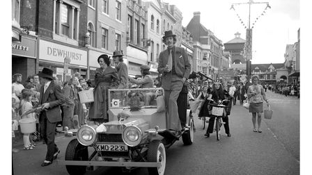 The Colchester carnival parade of July 1974 passing along High Street.