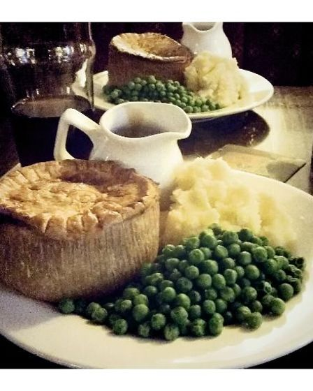 Pie and mash at the Alma- and all the trimmings.