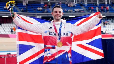 Great Britain's Matthew Walls with his Gold Medal for the Men's Omnium during the Track Cycling at