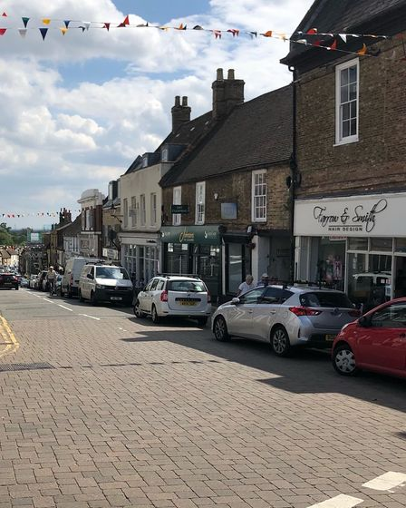 Forehill, Ely, on August 5, 2021 and parking on double yellow lines continues to cause chaos