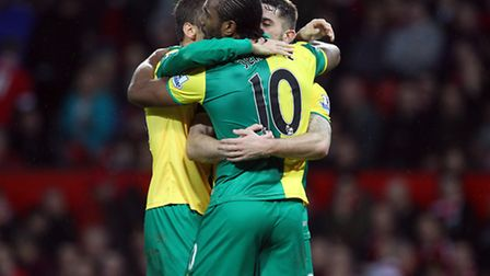 Cameron Jerome of Norwich celebrates scoring his sides 1st goal during the Barclays Premier League m