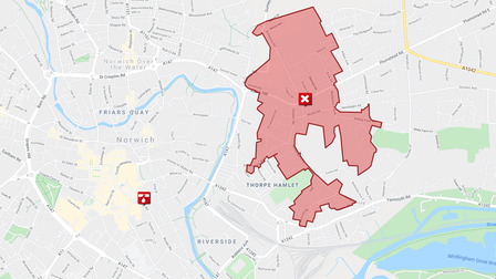A map on the Anglian Water website showing the affected part of Norwich.