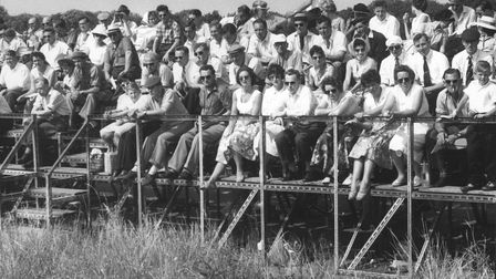Snetterton crowd on the hairpin bend at the Symonds Vauxhall Trophy meeting in 1959.