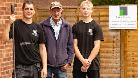 Lee Tim and Harvey who helped transform garden for Laurel Phizacklea