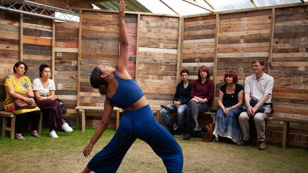 """Theatre company in their pop-up """"wooden O"""" playhouse, as Shakespeare would appreciate"""