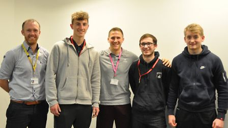 Jonny O Brien (left) with students from the Easton and Otley College rugby academy and Keir Wenham F