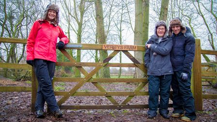 Kate Humble with Katharine and Louis Falconer at their Alpaca farm in Norfolk.