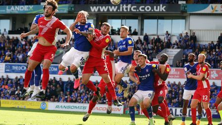 James Norwood heads over the bar deep in stoppage time.