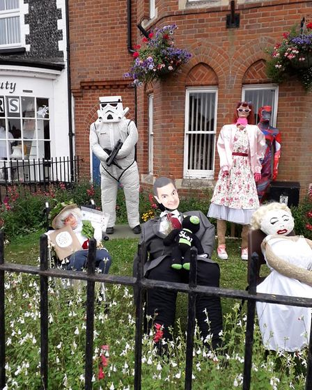 Scarecrows ready to be judged at Brandon Festival in 2019, as part of its scarecrow competition.
