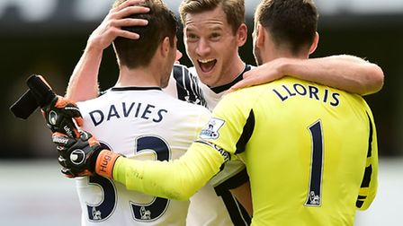 Jan Vertonghen, a key part of the Spurs defence, pictured with full-back Ben Davies and keeper Hugo