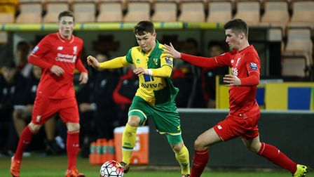 Glenn Middleton in action for Norwich City U21s in their 0-0 draw with Liverpool at Carrow Road. Pic