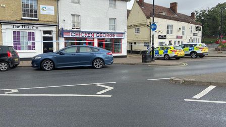 Police at the scene of an incident in Kings Street, Sudbury
