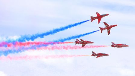 The Red Arrows are set to travel over Suffolk on Sunday evening. They are pictured here at a previous Clacton Airshow