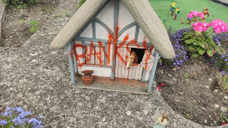 A cottage signed 'Banksy' has appeared in Merrivale Model Village in Great Yarmouth.