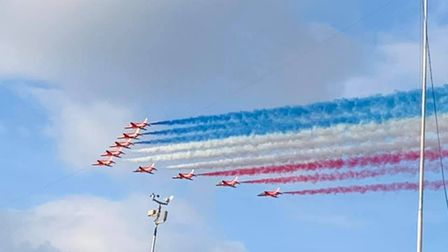 Rebecca Goodrum took this picture of theRed Arrows passing over Stonham Parva tonight, complete with the statement smoke