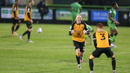 Newport County's Kevin Ellison (left) celebrates with Ryan Hayes after the Sky Bet League Two semi f