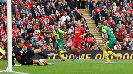 Matt Jarvis was denied a Norwich City winner at Liverpool earlier this season. Picture by Paul Chest