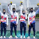 Great Britain's Jessica Learmonth, Jonathan Brownlee, Alex Yee, Georgia Taylor-Brown and Alex Yee on