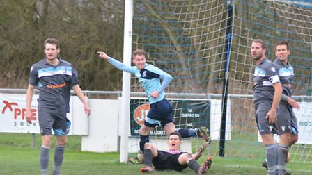 Action from Norwich Uniteds 3-0 loss at Godmanchester recently. Picture: HELEN DRAKE