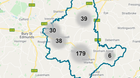 A map of the crimes reported in Stowmarket