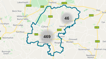 The police crime map for Bury St Edmunds